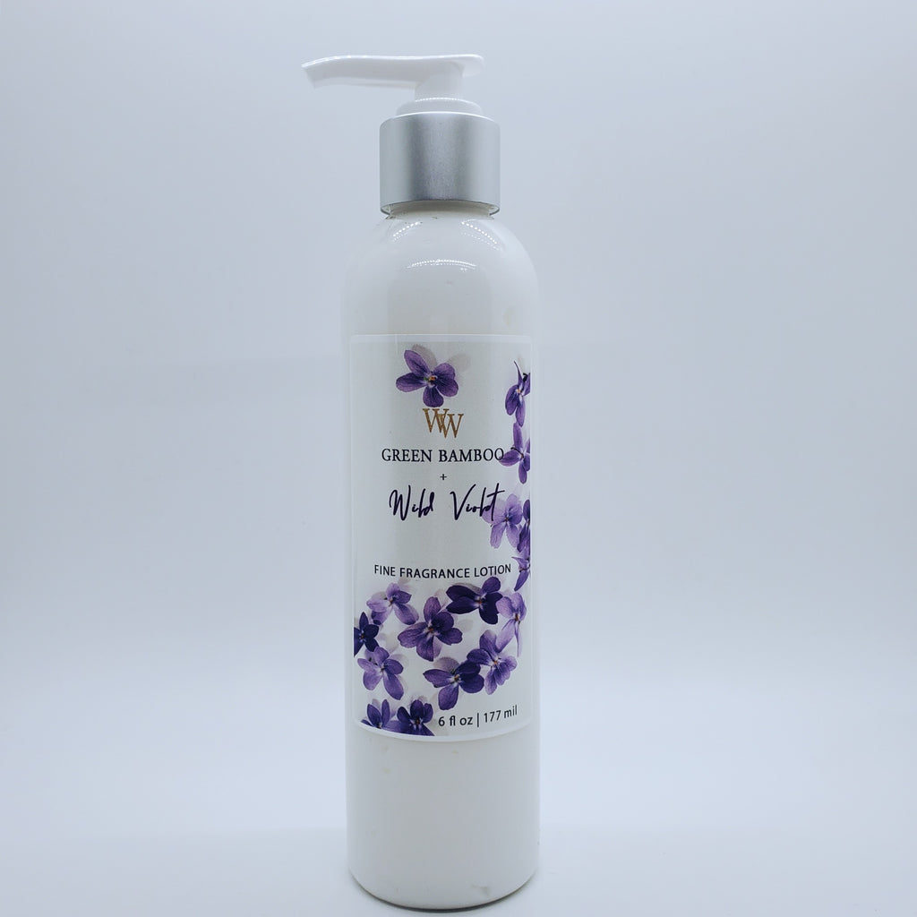 Green Bamboo + Wild Violet | Fine Fragrance Lotion | Sweet Almond Oil