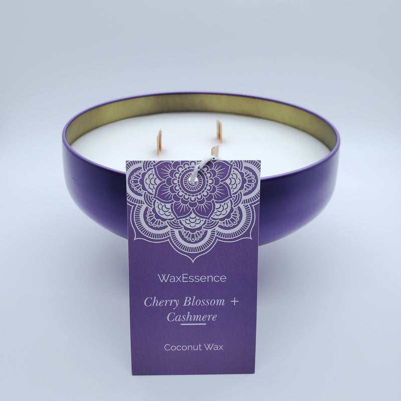 Cherry Blossom + Cashmere Home Candle | Coconut Wax | Gloss Lilac Tin 14.2 fl oz - WaxEssence