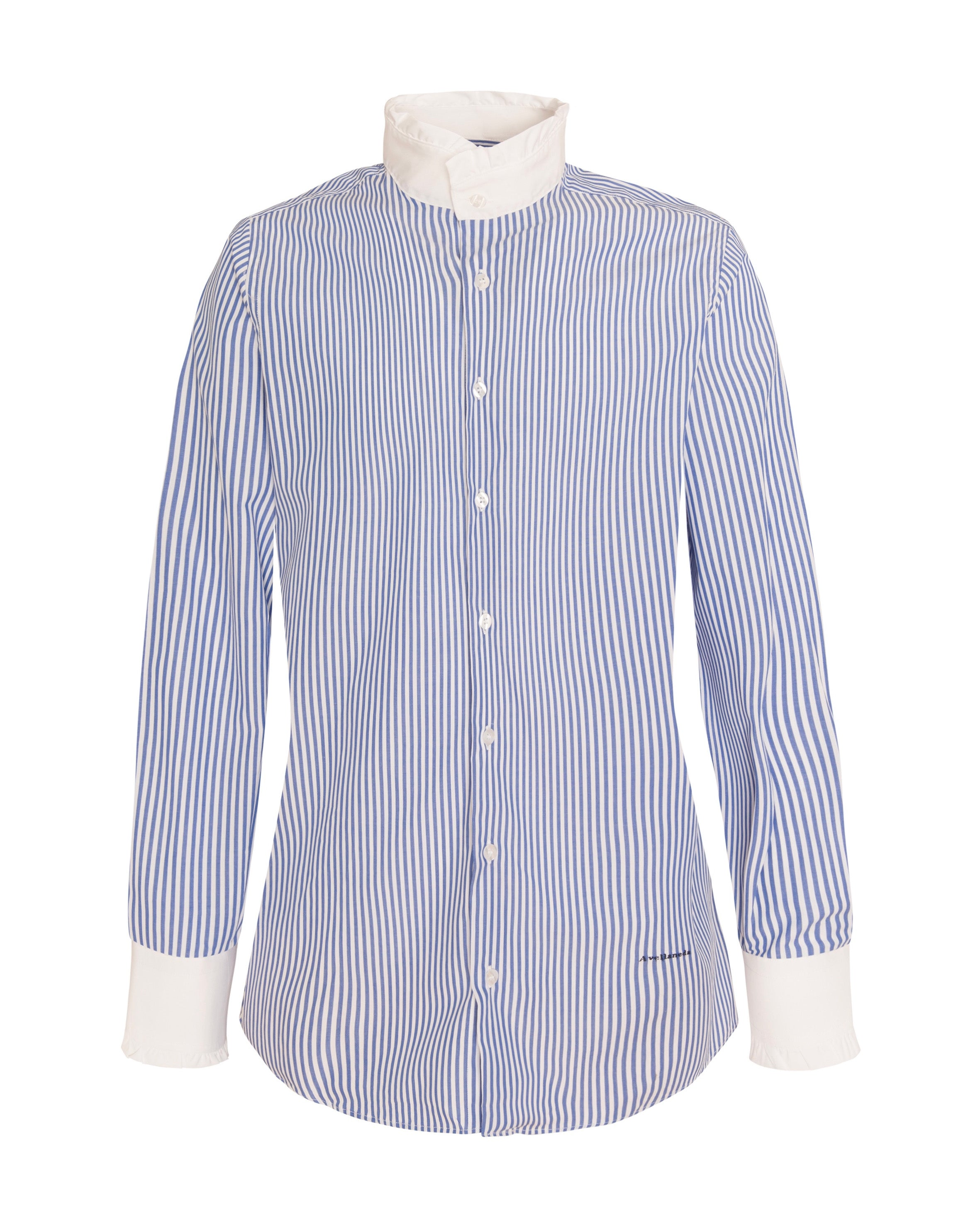 WOMEN'S NECK & CUFFS FRILL STRIPED SHIRT