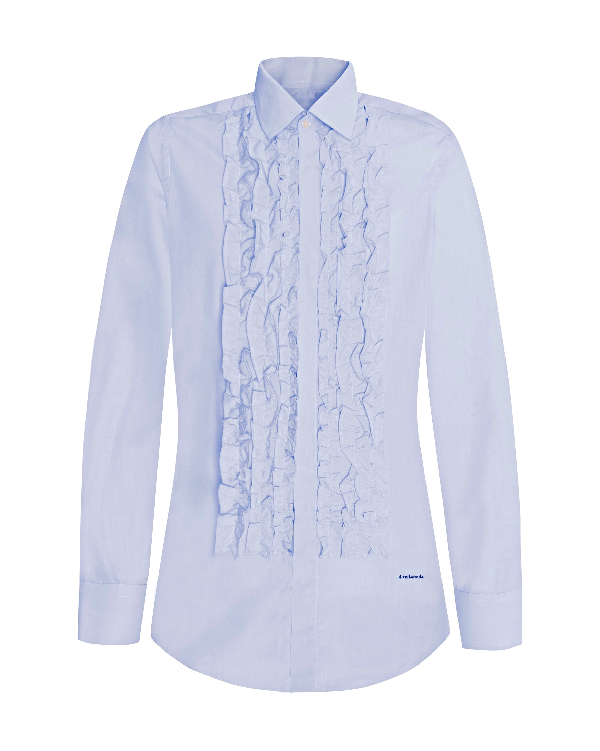 WOMEN'S MULTI-RUFFLED BLUE SHIRT