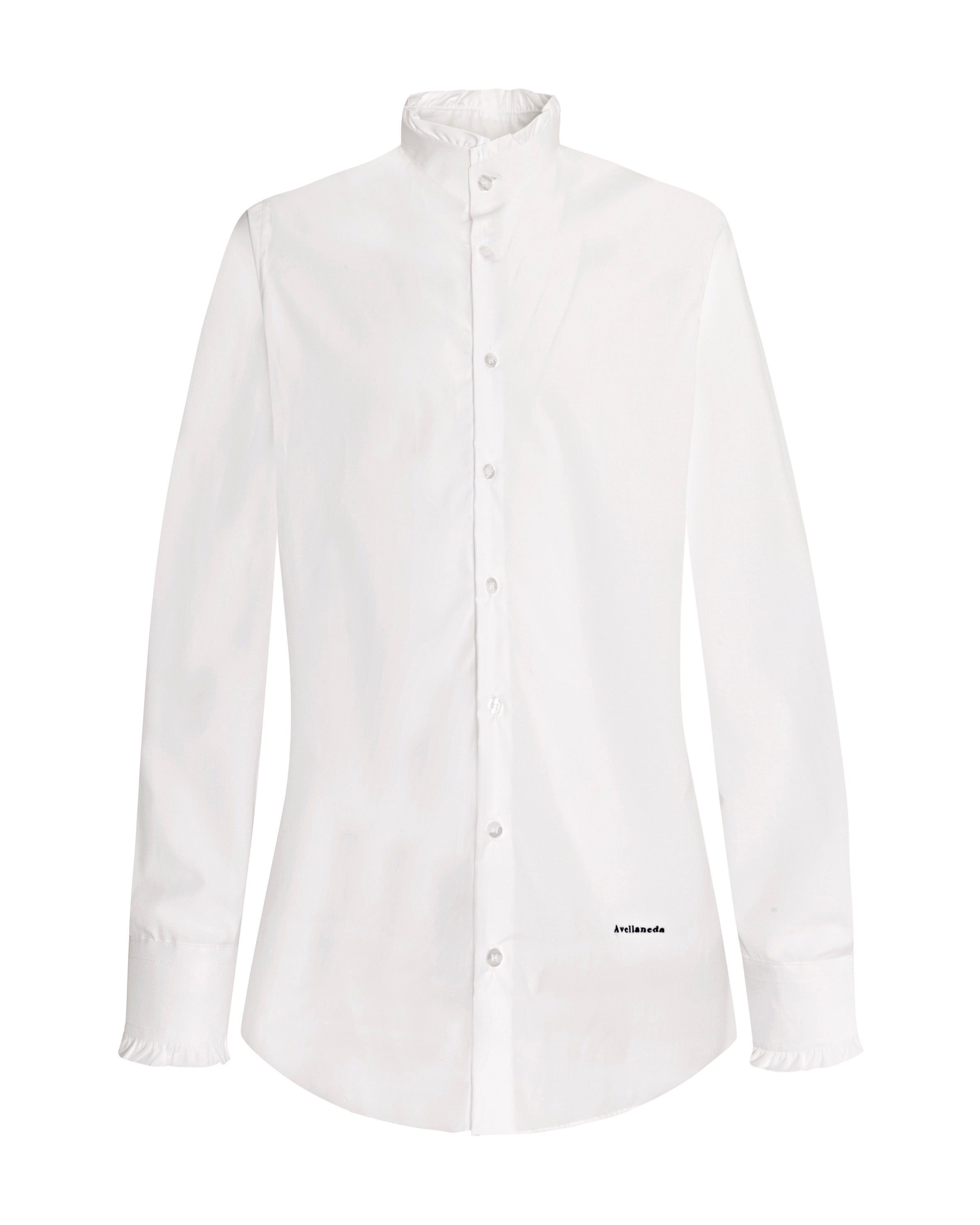 WOMEN'S NECK & CUFFS FRILL WHITE SHIRT