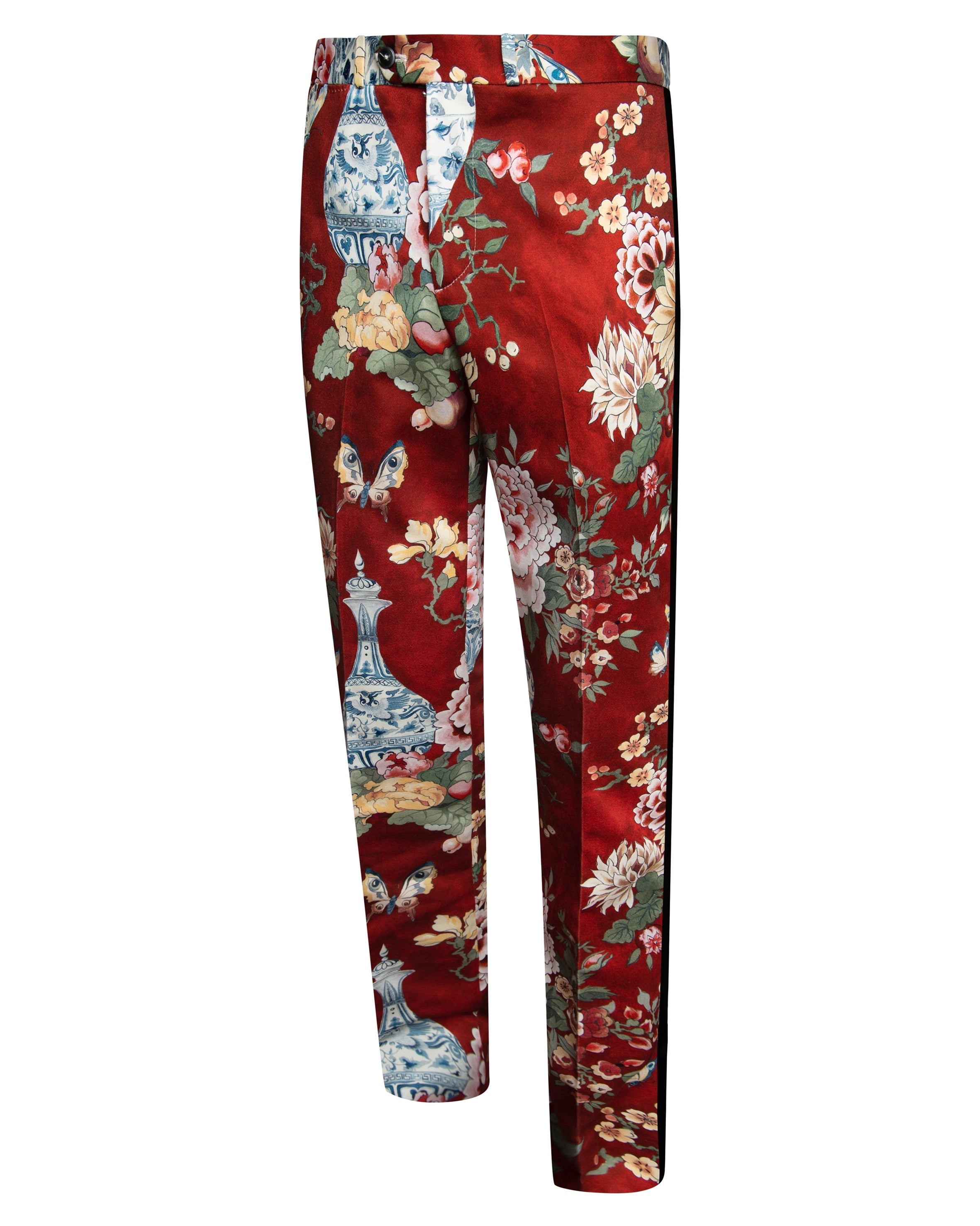 RED FLORAL TUXEDO TROUSER