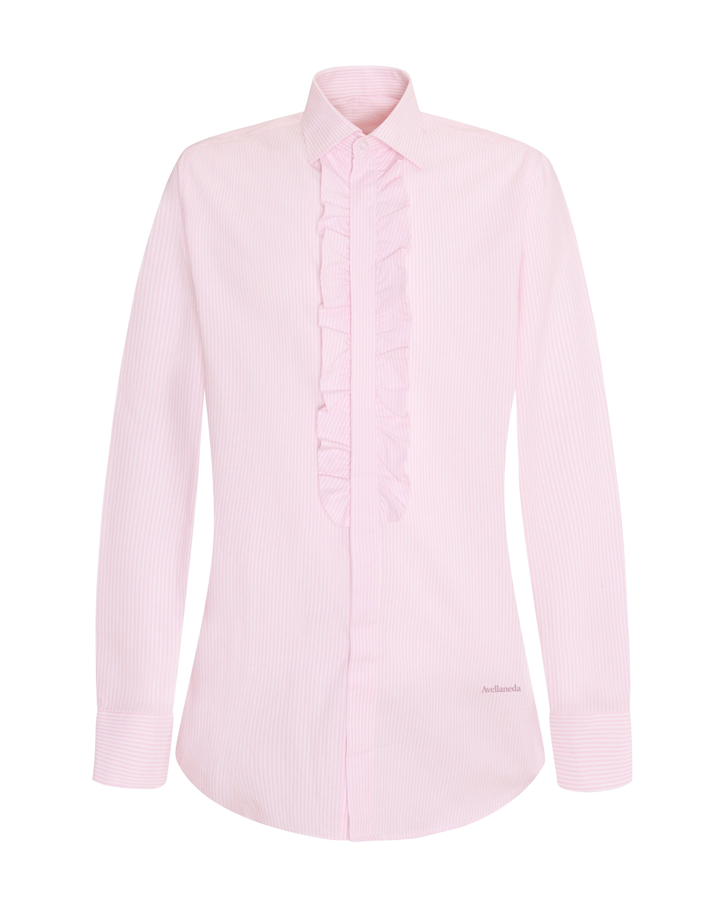 WOMEN'S RUFFLED PINK STRIPED SHIRT