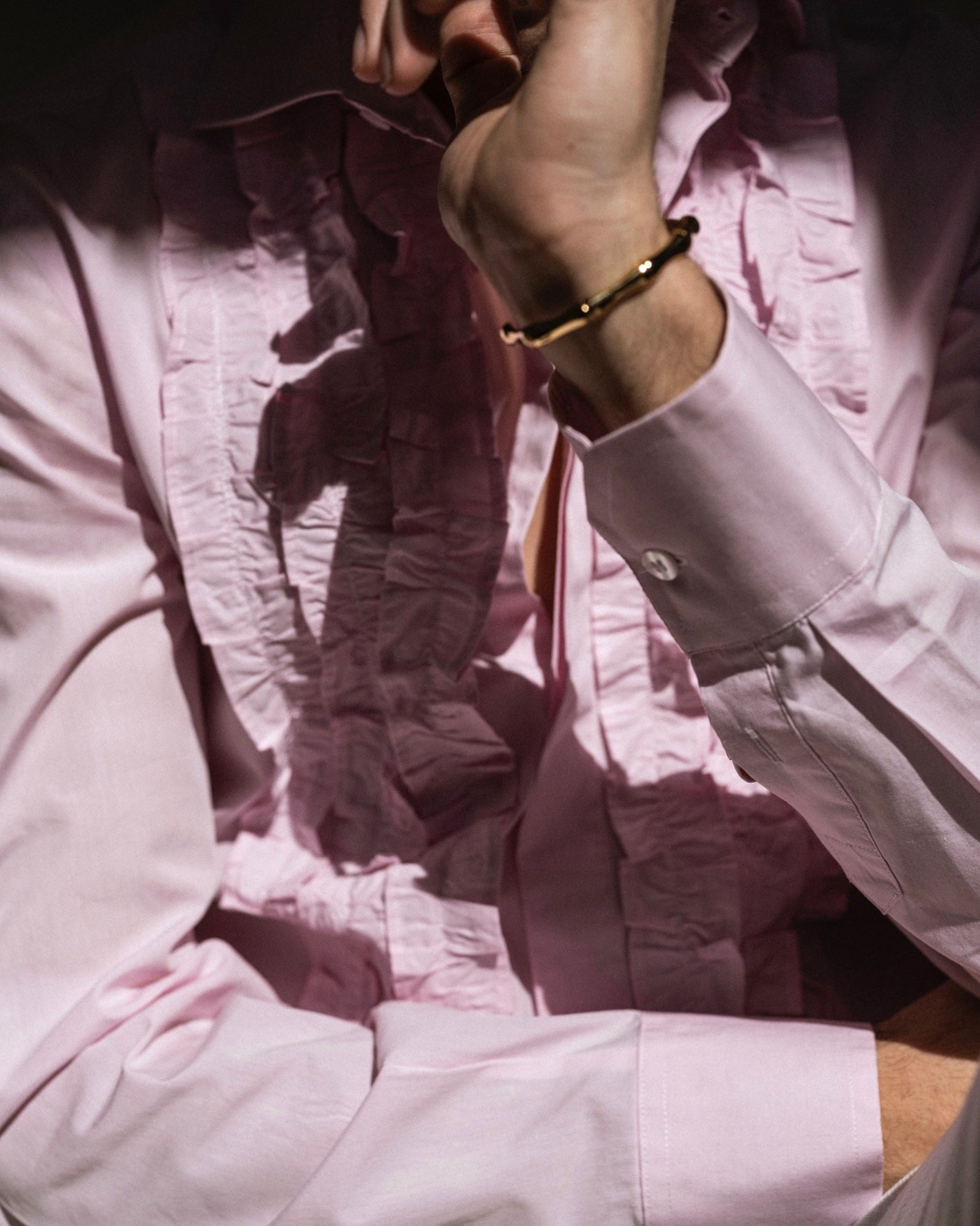 MEN'S MULTI-RUFFLED PINK SHIRT