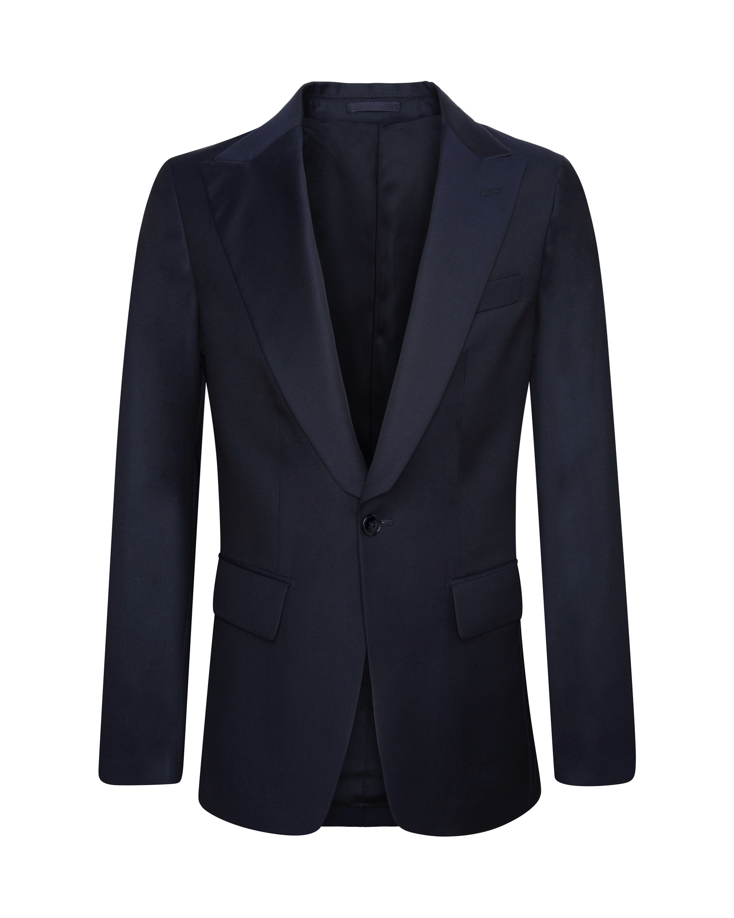 SERGE NAVY SINGLE-BREASTED BLAZER
