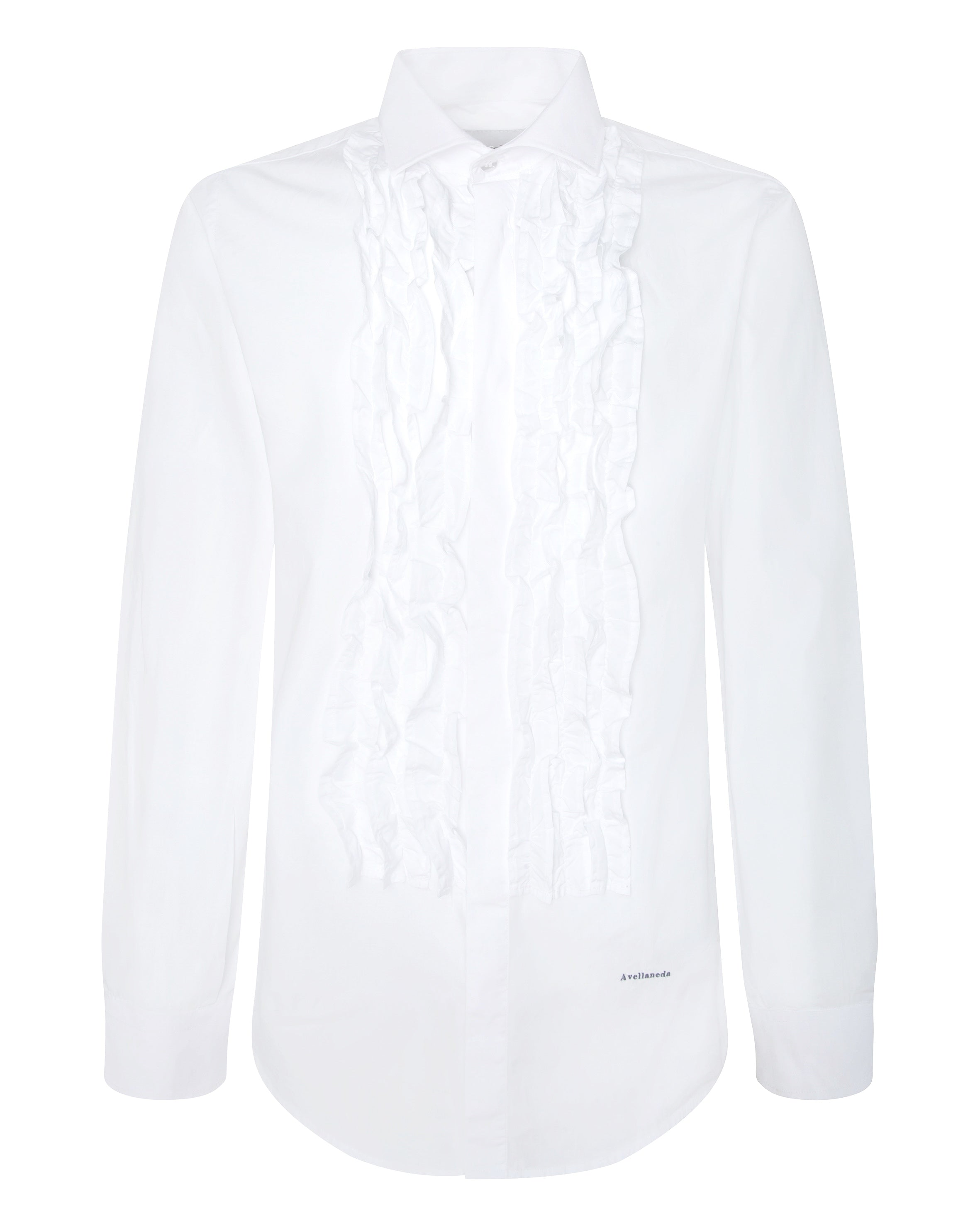 WOMEN'S MULTI-RUFFLED ALL WHITE SHIRT
