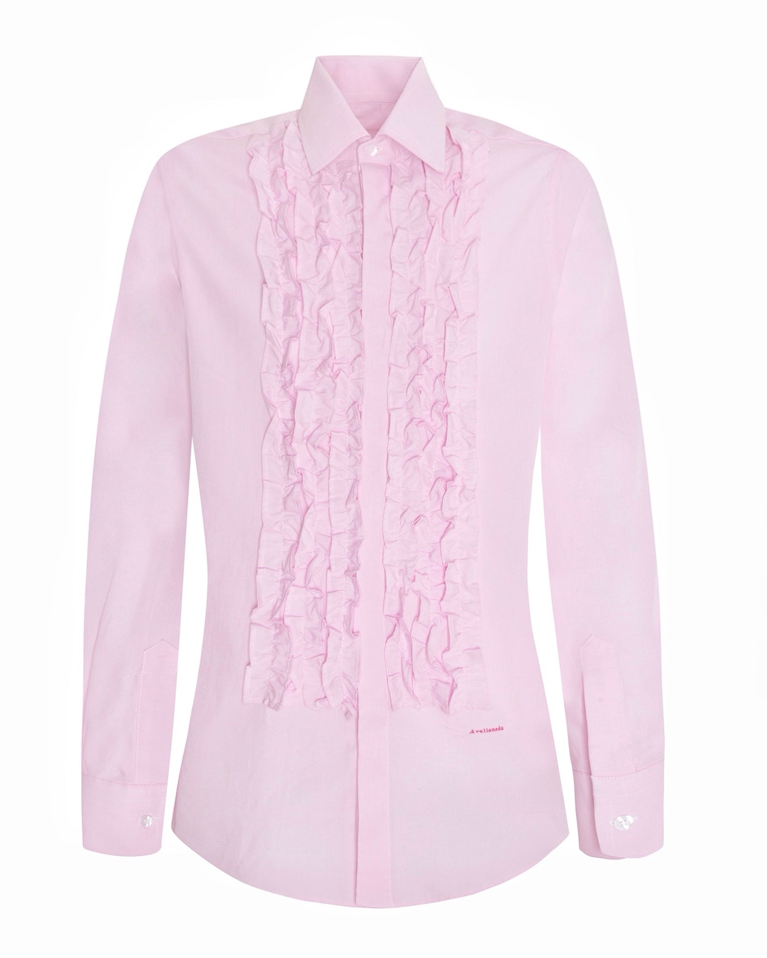 WOMEN'S MULTI-RUFFLED PINK SHIRT