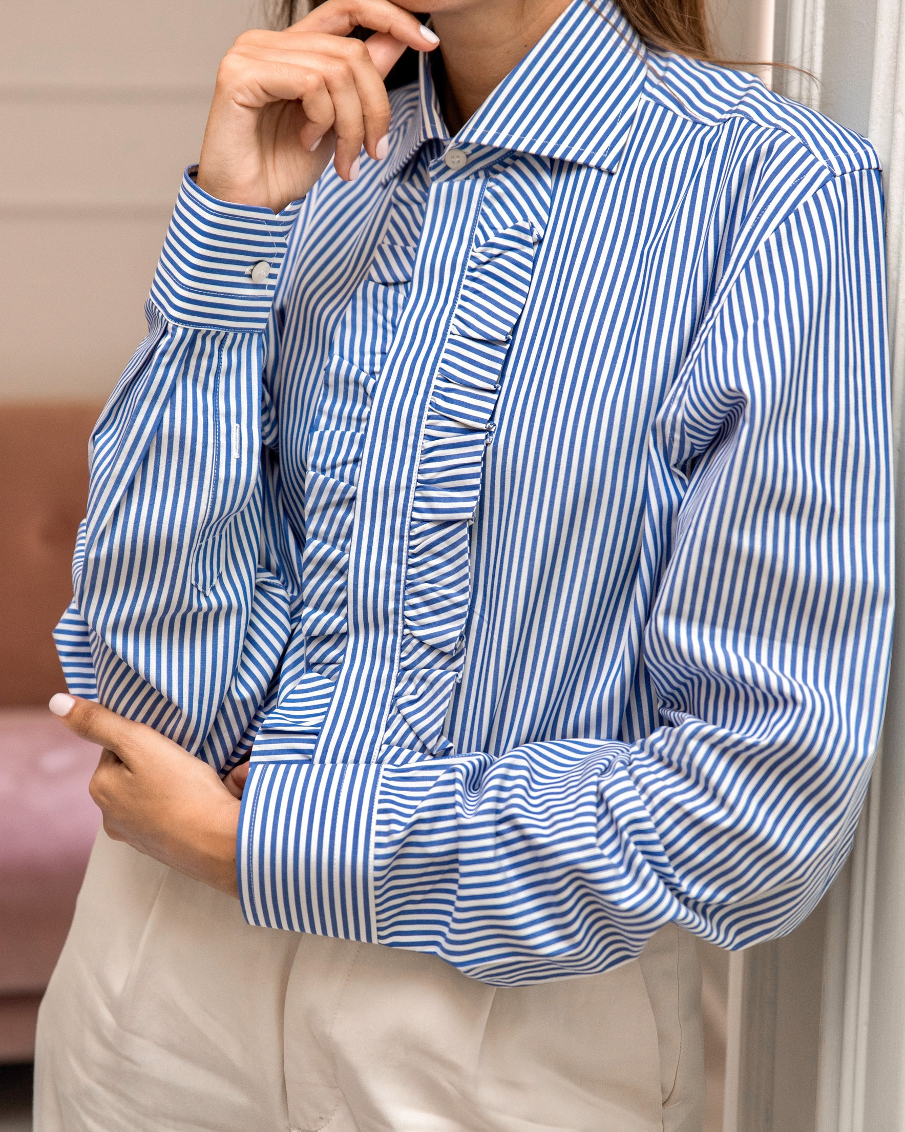 WOMEN'S RUFFLED COTTON STRIPED BLUE SHIRT