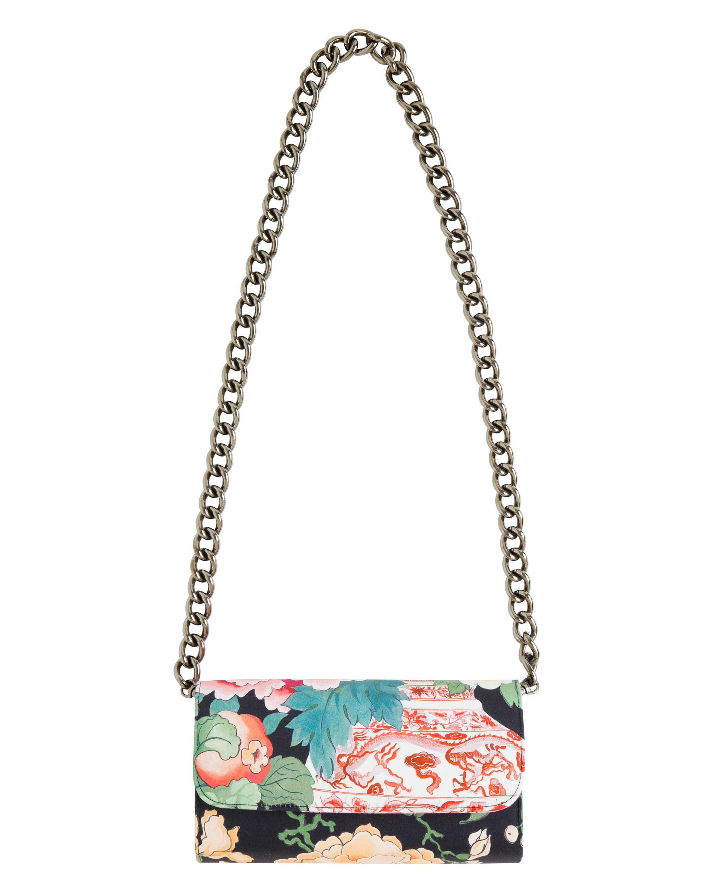 CHINOISERIE CLUTCH IN BLACK VICTOR PRINT