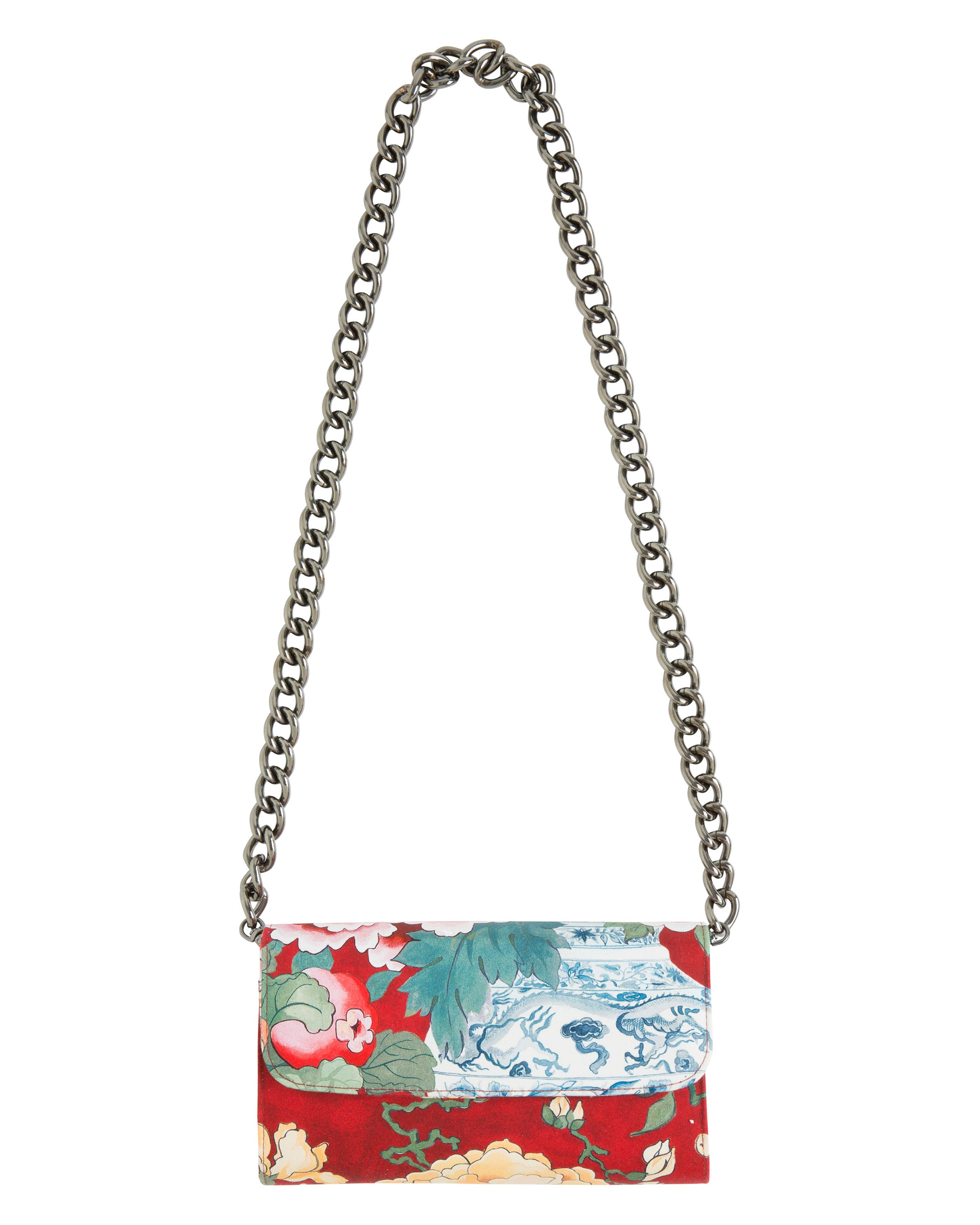 CHINOISERIE CLUTCH IN RED VICTOR PRINT