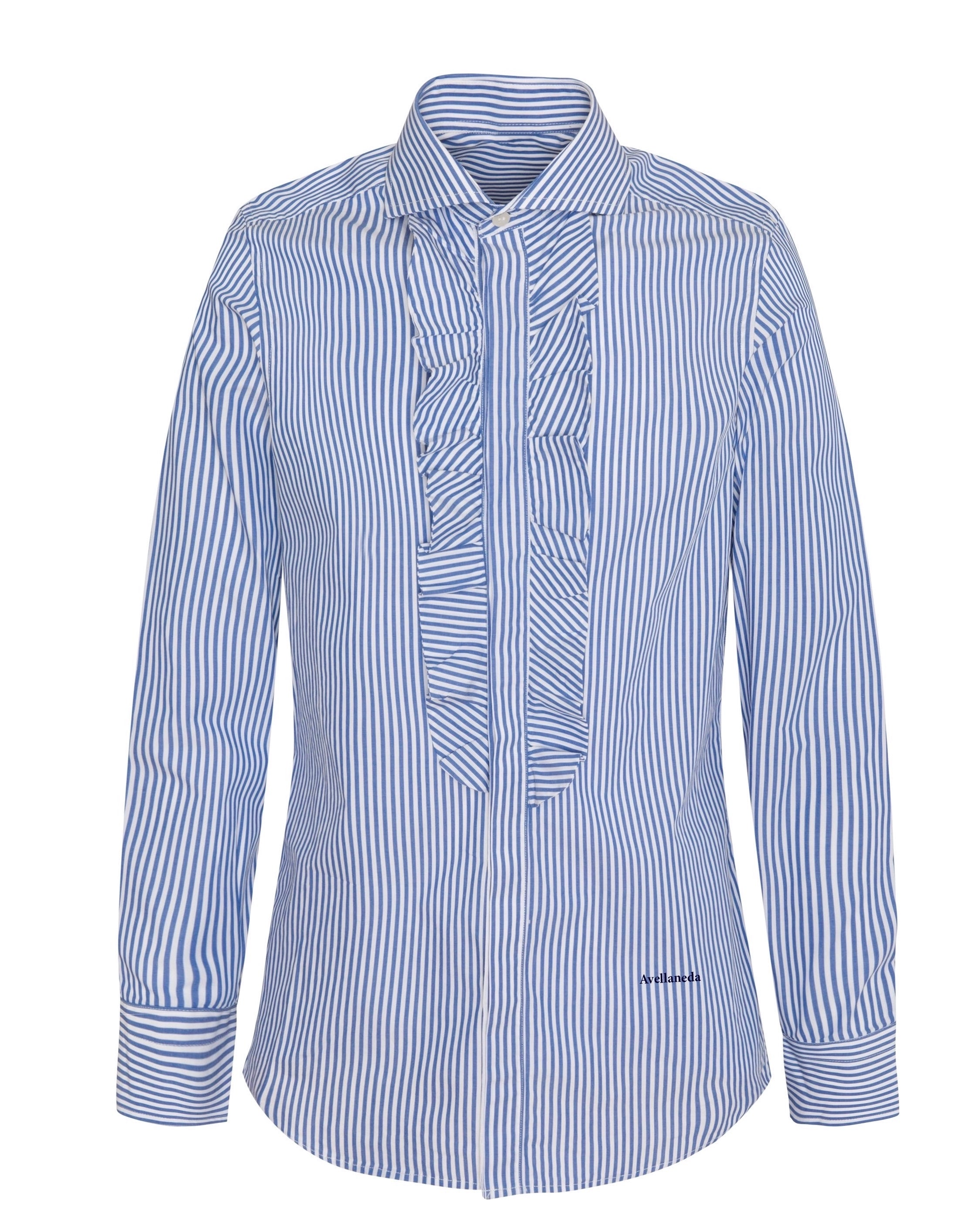 MEN'S RUFFLED BLUE SHIRT