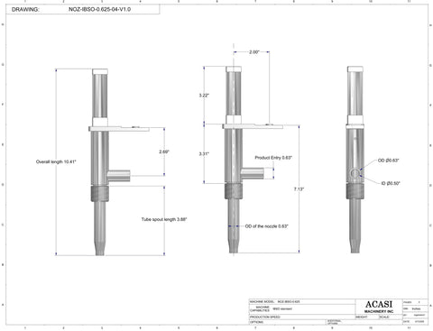 0.625 standard nozzle dimensions for filler machine, model Trupiston, by Acasi Machinery Inc.