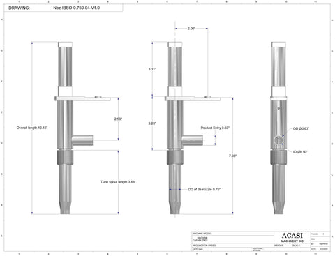 0.750 standard nozzle dimensions for filler machine, model Trupiston, by Acasi Machinery Inc