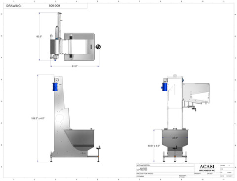 Cap feeder and sorter, type waterfall, model 800-000 dimensions, by Acasi Machinery Inc.