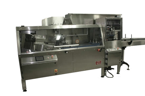 Automatic bottle unscrambler with Independent 100 cubic foot hopper and secondary orientation, model TruSort-SO, by Acasi Machinery Inc., front and left view