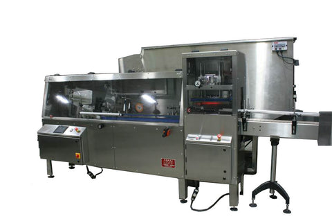 Automatic bottle unscrambler with Independent 100 cubic foot hopper and secondary orientation, model TruSort-SO, by Acasi Machinery Inc., front and right view