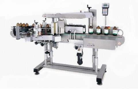 Automatic front/Back labeler machine with wrap station, model 430, by Acasi Machinery Inc.