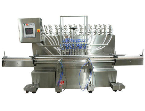 Automatic inline 16 pistons filler machine high-precision, electrically-driven ball screw movement, high viscocity liquid products, model Trupiston, by Acasi Machinery Inc., front view