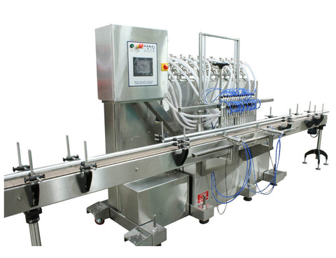 Automatic inline 16 pistons filler machine high-precision, electrically-driven ball screw movement, high viscocity liquid products, model Trupiston, by Acasi Machinery Inc., left and front view