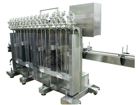 Automatic inline 16 pistons filler machine high-precision, electrically-driven ball screw movement, high viscocity liquid products, model Trupiston, by Acasi Machinery Inc., right and rear view