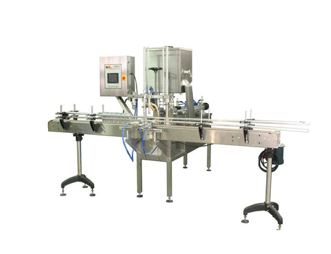 Automatic inline 2 pistons filler machine pneumatic driven with independent adjustment for each piston, high viscocity liquid products, model Trupiston, by Acasi Machinery Inc., right and front view.