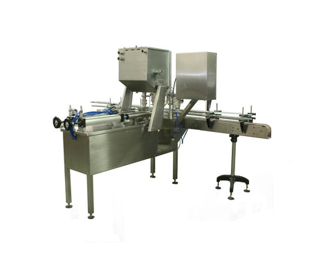 Automatic inline 2 pistons filler machine pneumatic driven with independent adjustment for each piston, high viscocity liquid products, model Trupiston, by Acasi Machinery Inc., right and rear view.