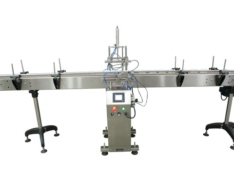 Automatic inline 4 miniature pistons filler machine, gating cylinders to automatically control handling of the bottles, high viscocity liquid products, model Minipiston, by Acasi Machinery Inc., front view.