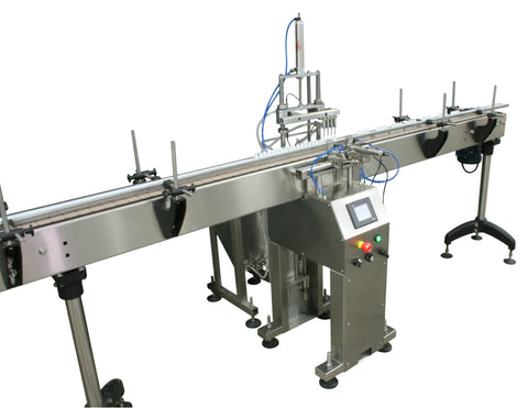 Automatic inline 4 miniature pistons filler machine, gating cylinders to automatically control handling of the bottles, high viscocity liquid products, model Minipiston, by Acasi Machinery Inc., left and front view.