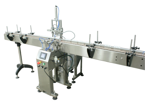 Automatic inline 4 miniature pistons filler machine, gating cylinders to automatically control handling of the bottles, high viscocity liquid products, model Minipiston, by Acasi Machinery Inc., right and front view.