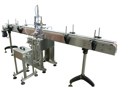 Automatic inline 4 miniature pistons filler machine, gating cylinders to automatically control handling of the bottles, high viscocity liquid products, model Minipiston, by Acasi Machinery Inc., right and rear view.