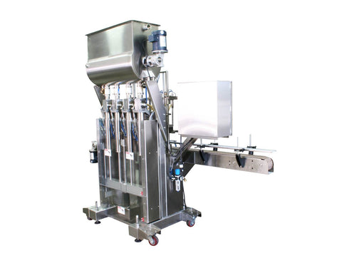 Automatic inline 4 pistons filler machine high-precision, electrically-driven ball screw movement, high viscocity liquid products, model Trupiston, by Acasi Machinery Inc.,right and rear view