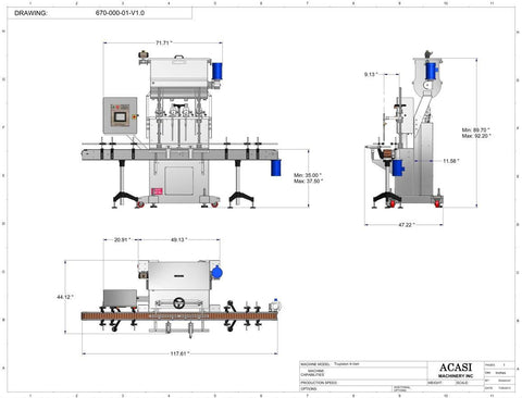 Automatic inline 4 pistons filler machine high-precision, model Trupiston dimensions, by Acasi Machinery Inc.