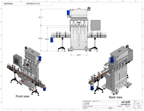 Automatic inline 4 pistons filler machine high-precision, model Trupiston dimensions 2, by Acasi Machinery Inc.