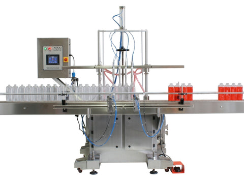 Automatic inline 8 gear pumps filler machine, individual filling volume and speed adjusment for each pump, high viscocity liquid products, model Trupump, by Acasi Machinery Inc., left and rear view.