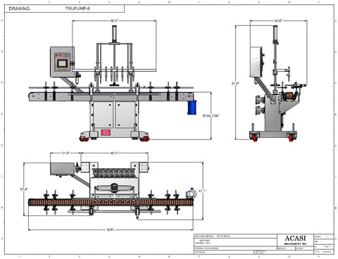 Automatic inline 8 gear pumps filler machine, individual filling volume and speed adjusment for each pump, high viscocity liquid products, model TruPump dimensions, by Acasi Machinery Inc.