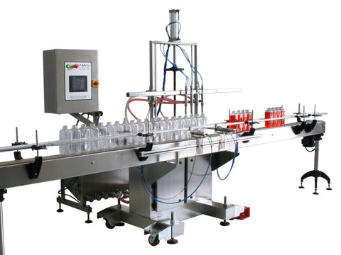 Automatic inline 8 gear pumps filler machine, individual filling volume and speed adjusment for each pump, high viscocity liquid products, model Trupump, by Acasi Machinery Inc., front and left view