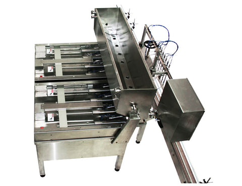 Automatic inline 8 pistons filler machine high-precision, electrically-driven ball screw movement, high viscocity liquid products, model Trupiston, by Acasi Machinery Inc., top and rear view.
