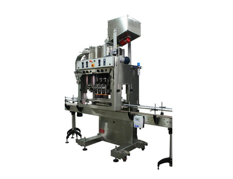 Automatic inline bottle cap machine with bowl cap sorter model -Trucap-X-Cent by Acasi Machinery Inc. right and front view