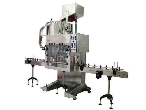 Automatic inline bottle capping machine with bowl cap sorter, model CAI-X-Cent, by Acasi Machinery Inc., right and front view