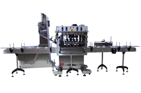 Automatic inline bottle cap machine with waterfall cap sorter and feeder, model - Trucap-X-WFall, by Acasi Machinery Inc., front view