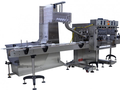 Automatic inline bottle cap machine with waterfall cap sorter and feeder model - Trucap-X-WFall, by Acasi Machinery Inc., left and front view.