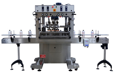 Automatic inline bottle cap tightener machine, model - Trucap, by Acasi Machinery Inc., front view.