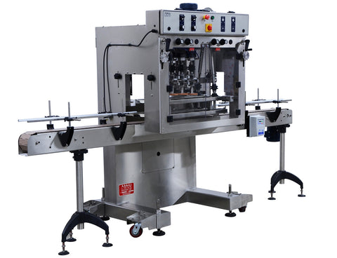 Automatic inline bottle cap tightener machine, model - Trucap, by Acasi Machinery Inc., left and front view.