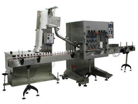 Automatic inline bottle cap tightener machine with cap sorter and feeder type waterfall, model CAI-X-WFall, by Acasi Machinery Inc., left and front view