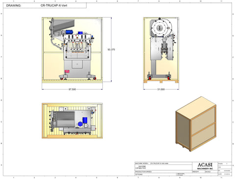 Automatic inline bottle capping machine, model TruCap-X-Vert crate dimensions, by Acasi Machinery Inc.