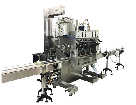 Automatic inline bottle capping machine with bowl cap sorter, model - Trucap-X-Cent with cap elevator, by Acasi Machinery Inc., left and front view