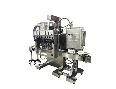 Automatic inline bottle capping machine with bowl cap sorter, model - Trucap-X-Cent with cap elevator, by Acasi Machinery Inc., right and front view