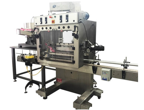 Automatic inline bottle capping machine with vibratory cap feeder, model - Trucap-X-Vib, by Acasi Machinery Inc., right and front view