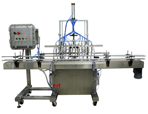 Automatic inline piston filler machine, explosion proof construction, model PI3100, by Acasi Machinery Inc., front view