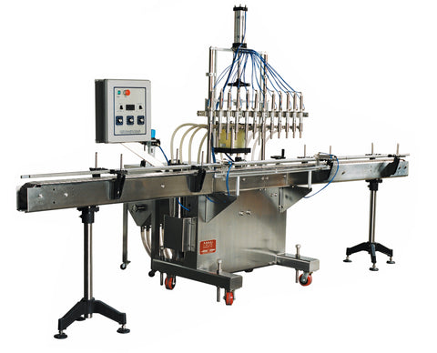 Automatic inline piston filler machine, high viscocity liquid products, 30 gallons tank, model PI3100, by Acasi Machinery Inc., left and front view.